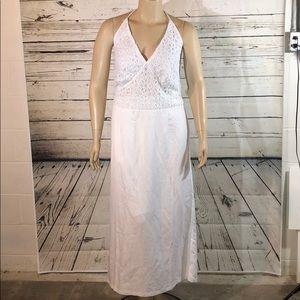Ashley Stewart NWT 16W Crochet Linen Maxi Dress